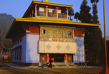 Rumtek Monastery, monk's center for Black Hat Buddhists, near Gangtok, Sikkim Himalaya  -  Colin Monteath/ Hedgehog House