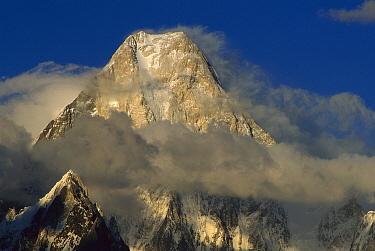 Gasherbrum IV (7,925 meters) showing west face amid clouds, Karakoram Mountains, Pakistan  -  Nick Groves/ Hedgehog House