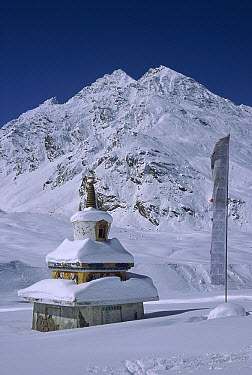 Snow covered chortens, near Panzi La, Kingdom of Zanskar, Himalaya, India  -  Colin Monteath/ Hedgehog House