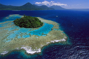 Coral reefs and islands, Kimbe Bay, West New Britain Island, Papua New Guinea  -  Ingrid Visser/ Hedgehog House