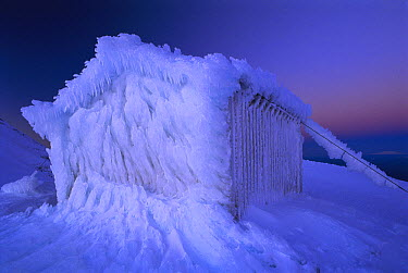 Ice encrusted Syme hut on Fatham's Peak, Mount Egmont National Park, New Zealand  -  Andy Reisinger/ Hedgehog House