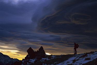 Hiker and storm clouds at dawn, Mount Fyffe, Kaikoura, New Zealand  -  Shaun Barnett/ Hedgehog House