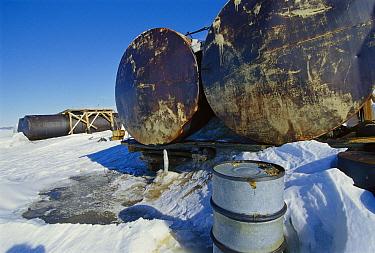 Large fuel tanks leaking at abandoned Russian research station, Ross Sea, Antarctica  -  Ingrid Visser/ Hedgehog House