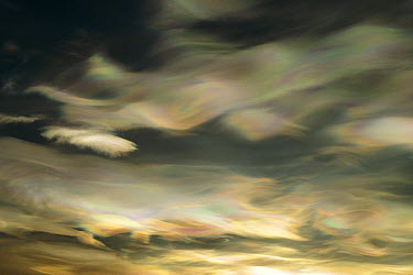 Nacreous Mother of Pearl' clouds seen over Ross Island in late winter, early spring, Antarctica  -  Keith-Nels Swenson/ Hedgehog Hou