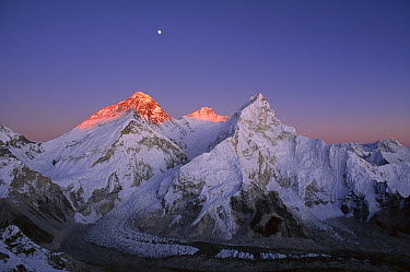 Moon over summit of Mount Everest, Lhotse, and Nuptse as seen from Mount Pumori, Sagarmatha National Park, Nepal  -  Grant Dixon/ Hedgehog House