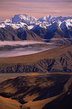 Mount Cook, Godley and McCauley Valleys from Two Thumbs Mountain Range, New Zealand  -  Colin Monteath/ Hedgehog House