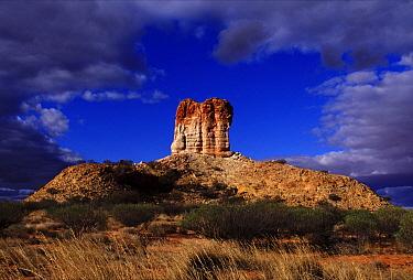 Sandstone pillar towers 50 meters above surrounding plain, Chambers Pillar Historical Reserve, Australia  -  Wil Meinderts/ Buiten-beeld