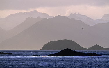 Islands and mountain ranges silhouetted around Cumberland East Bay, South Georgia  -  Flip de Nooyer