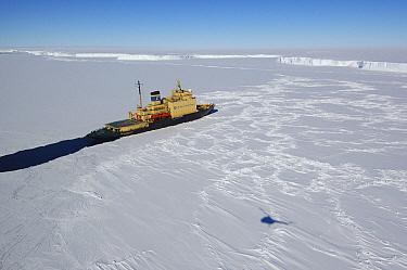 The Russian icebreaker Kapitan Khlebnikov cutting through ice, Antarctica  -  Jan Vermeer