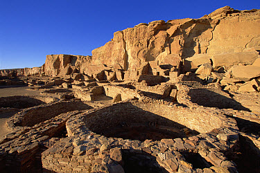Ruins of monumental public buildings called Pueblo Bonito, ancestral Puebloan culture, AD 850-1250 Chaco Canyon, Chaco Culture National Historical Park, New Mexico  -  Yva Momatiuk & John Eastcott