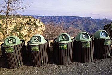Recycling garbage cans in parking lot, South Rim, Grand Canyon National Park, Arizona  -  Yva Momatiuk & John Eastcott