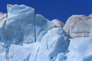Graphic forms of blue ice, seracs and cracks, Fortuna Glacier, South Georgia Island, Southern Ocean, Antarctic Convergance  -  Yva Momatiuk & John Eastcott