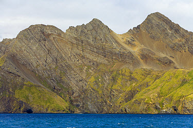Folded layers of coastal rocks which Shackleton used as landmarks while trying to reach Stromness Whaling Station during his famous crossing of the island in 1915, autumn, Stromness Bay, South Georgia...  -  Yva Momatiuk & John Eastcott