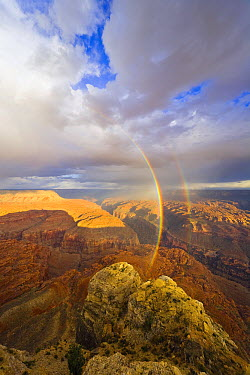 Double rainbow and dramatic clouds over canyons, buttes, cliffs and plateaus of Grand Canyon in evening, Kanab Point, Grand Canyon National Park, Arizona  -  Yva Momatiuk & John Eastcott