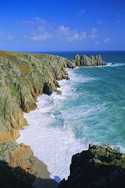 Cliffs along Cornish coastline, Porthcurno, Cornwall UK  -  David Noton/ npl