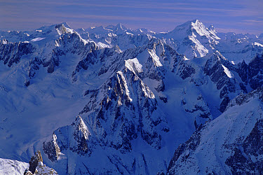 The Alps near Chamonix, view east from the Aiguille du Midi to Grand Combin, France  -  Jeremy Walker/ npl