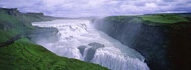 Gullfoss waterfall on the glacial river Hvita cascades 105-feet, Iceland  -  Dan Burton/ npl