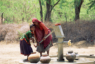 Villagers pumping water, Sirohi District, Rajasthan, India  -  Toby Sinclair/ npl