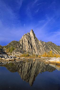 Prusik Peak reflected in Gnome Tarn, Alpine Lakes Wilderness, Washington  -  Kevin Schafer