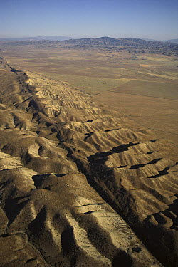 Aerial of the Carrizo Plain showing the San Andreas Fault, a geologic transform fault, California  -  Kevin Schafer