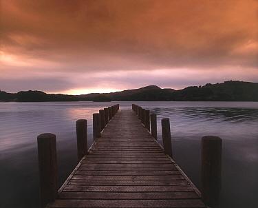 Jetty and lake at sunset, Coniston Water, Cumbria, England  -  David Burton Holt/ FLPA