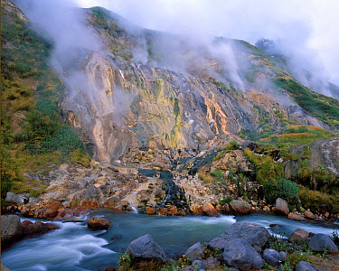 Geysers and river, Valley of Geysers, Kronotsky Zapovednik, Russia  -  Igor Shpilenok/ npl