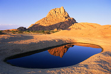 Spitzkoppe granite outcrop in southern Damaraland with ephemeral pool after good rain, Namib Desert, Namibia  -  Michael & Patricia Fogden