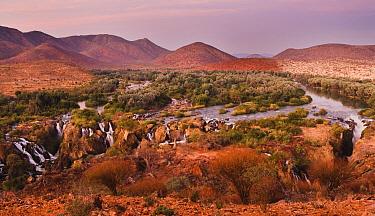 Epupa Falls on the Kunene River just after sunset, Namibia  -  Chris Stenger/ Buiten-beeld