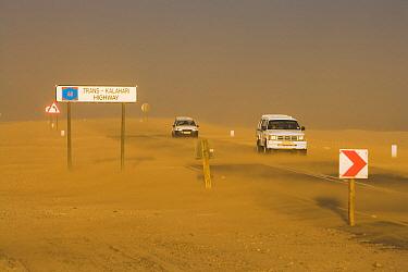 Highway during a sandstorm, Namib Desert, Swakopmund, Namibia  -  Chris Stenger/ Buiten-beeld