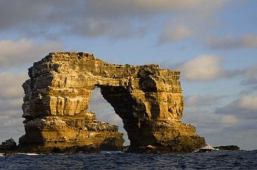 Eroded volcanic tufa arch known as Darwin Arch, Darwin Island, Galapagos Islands, Ecuador  -  Pete Oxford