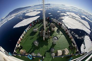 Tourists on bow of Marina Svetaeva approaching Cape Adare, Antarctica  -  Colin Monteath/ Hedgehog House