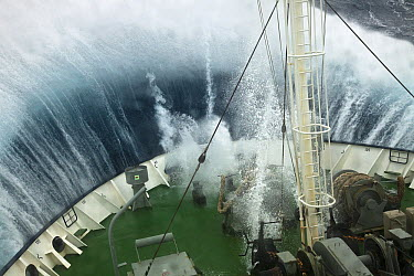 Wave breaking over bow of tourist ship Marina Svetaeva, Antarctica  -  Colin Monteath/ Hedgehog House