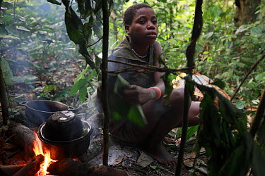 Baka boy in a forest hunting camp, Cameroon  -  Cyril Ruoso