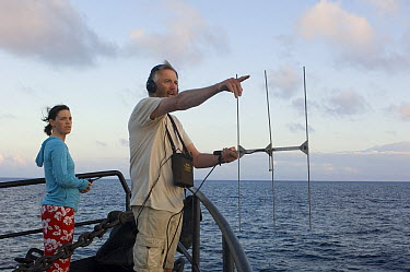 Blue Whale (Balaenoptera musculus) researchers John Calambokidis and Erin O'Brien tracking whales, Costa Rica  -  Flip  Nicklin
