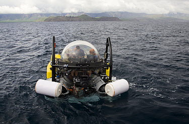 Research submersible floating on surface before exploring hot vents, Danzante Island, Baja California, Mexico  -  Richard Herrmann