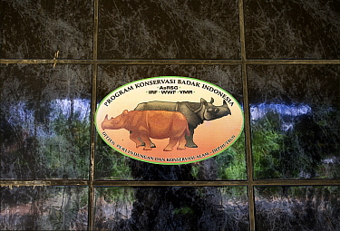 Sticker of the Indonesian Rhino Conservation Program at the Rhino Protection Unit headquarters, Way Kambas National Park, Sumatra, Indonesia  -  Stephen Belcher