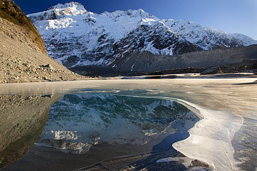 Mount Sefton reflected in Mueller Lake, Mount Cook National Park, New Zealand  -  Colin Monteath/ Hedgehog House