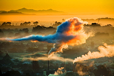 Winter dawn over industrial chimneys with Seaward Kaikoura Range behind, Christchurch, New Zealand  -  Colin Monteath/ Hedgehog House