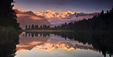Mount Cook and Mount Tasman reflected in Lake Matheson at sunset near Fox Glacier, New Zealand  -  Colin Monteath/ Hedgehog House
