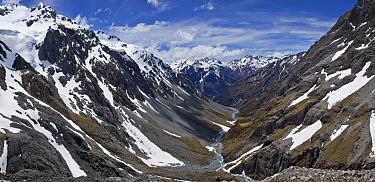 River descends from Southern Alps towards Waimakariri River, Arthur's Pass National Park, New Zealand  -  Colin Monteath/ Hedgehog House