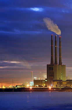 Thermal power plant with tall smoke stacks, Barcelona, Spain  -  Albert Lleal
