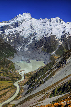 Mount Sefton with Mueller Lake below Mueller Glacier, Mount Cook National Park, New Zealand  -  Colin Monteath/ Hedgehog House