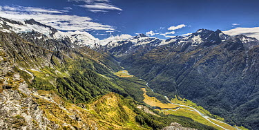 Mount Aspiring and Matukituki Valley from route to Cascade Saddle, Mount Aspiring National Park, New Zealand  -  Colin Monteath/ Hedgehog House