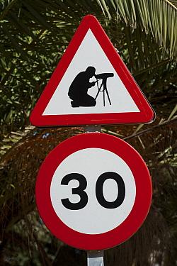 Humorous traffic signs erected by Donana Biological Station, Donana National Park, Huelva, Andalusia, Spain  -  Pete Oxford