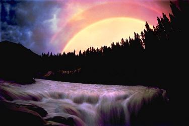 Double rainbow over Sunwapta Falls near Jasper National Park, Alberta, Canada  -  Jim Brandenburg