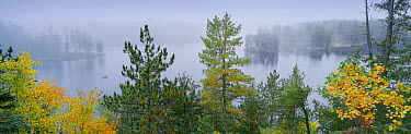 Autumn mist over Discovery Lake, Boundary Waters Canoe Area Wilderness, Superior National Forest, Minnesota  -  Jim Brandenburg