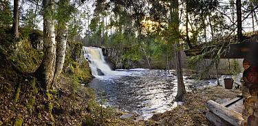 Waterfall and cabin, Northwoods, Superior National Forest,  Minnesota  -  Jim Brandenburg