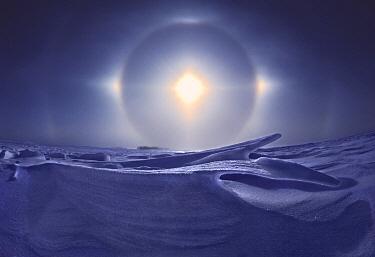 Sundogs, also known as mock sun, with snow field, Minnesota  -  Jim Brandenburg