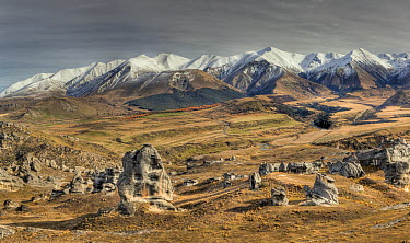 Flock Hill limestone boulders and Craigieburn Range, Castle Hill Basin, Canterbury, New Zealand  -  Colin Monteath/ Hedgehog House