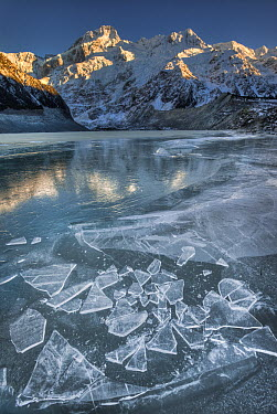 Mount Sefton reflected in frozen lake, Mueller Glacier, Mount Cook National Park, New Zealand  -  Colin Monteath/ Hedgehog House
